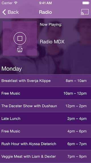 Screenshot of iPhone Student Radio App