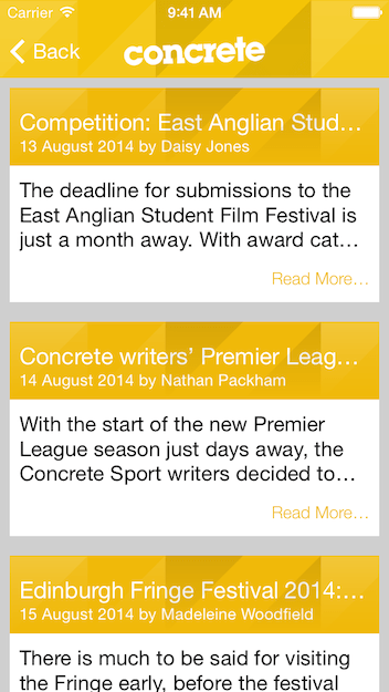 Concrete Student Media magazine articles in iPhone App